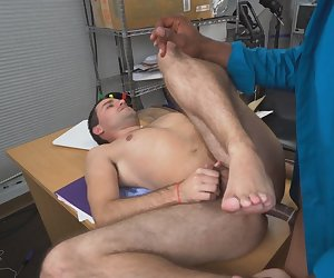 Stud giving head and riding black cock in office