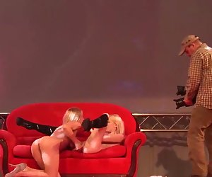 sapphic girlfriends on public porn stage