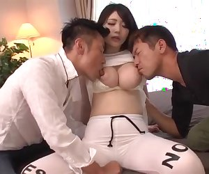 Big tits milf, Rie Tachikawa, goes nasty on two younger dicks
