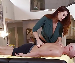 Alison Tyler's big tits is on the table