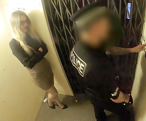 Leggy Office Slut Fucks Cop in an Elevator