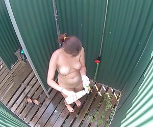 Chubby Girl Caught in Public Shower