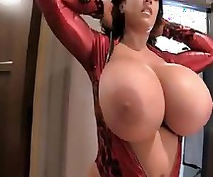 Leanne Huge Natural Tits Red Devil
