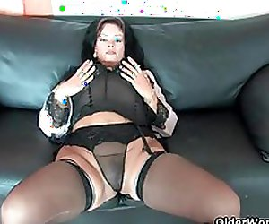Sleazy moms Irma, Valli and Helga wearing corset and stockings and having solo sex