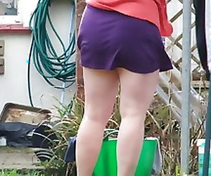 wife hanging washing - pantieless
