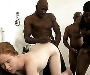 Big boobs redhead whore Kiera Wilde DP with black dude