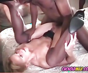Cuckold MILF with 3 bbc bulls Cum on her face