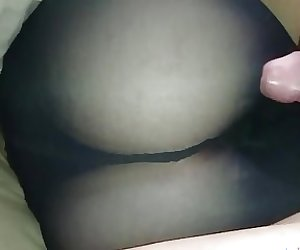 Sexy black pantyhose ass gropping