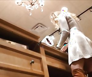 Upskirt Cute Blonde Shop Assistant