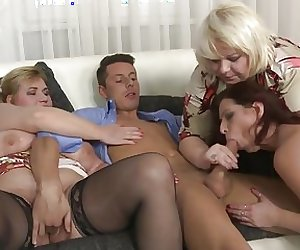 Group sex with mature moms and lucky son