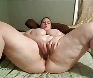 BBW plays with her fat pussy