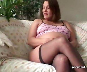 Pregnant Jeni fingers herself
