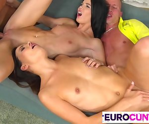 Two dicks for hot euro chicks